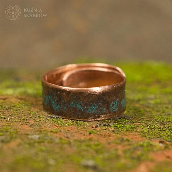 Autorski miedziany pierścionek robiony ręcznie