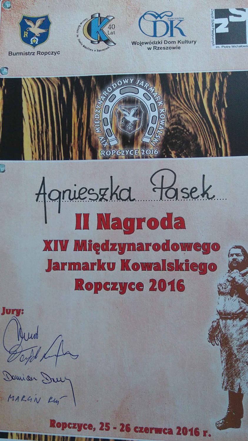Dyplom za drugą nagrodę w konkursie na kuty kwietnik - praca wiolonczela
